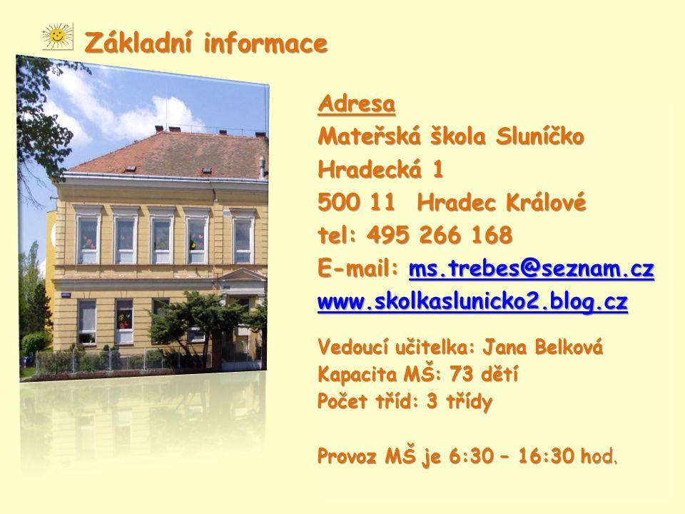 Základní informace Adresa Mateřská škola Sluníčko Hradecká 1