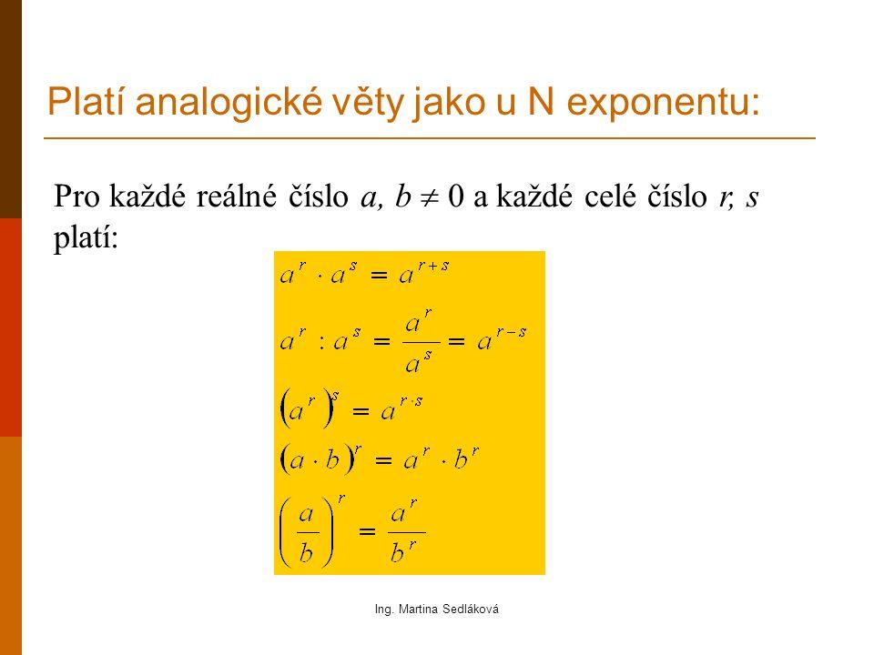 Platí analogické věty jako u N exponentu: