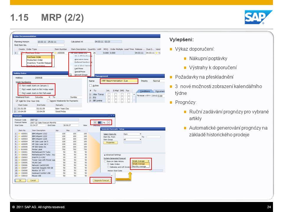 1.15 MRP (2/2) Vylepšení: Výkaz doporučení: Nákupní poptávky