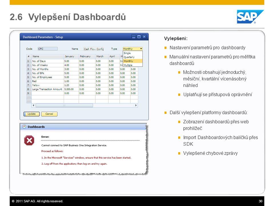 2.6 Vylepšení Dashboardů Vylepšení: Nastavení parametrů pro dashboardy