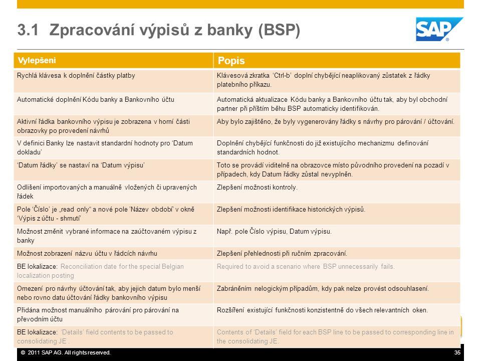 3.1 Zpracování výpisů z banky (BSP)