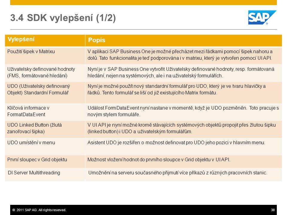3.4 SDK vylepšení (1/2) Popis Vylepšení Použití šipek v Matrixu