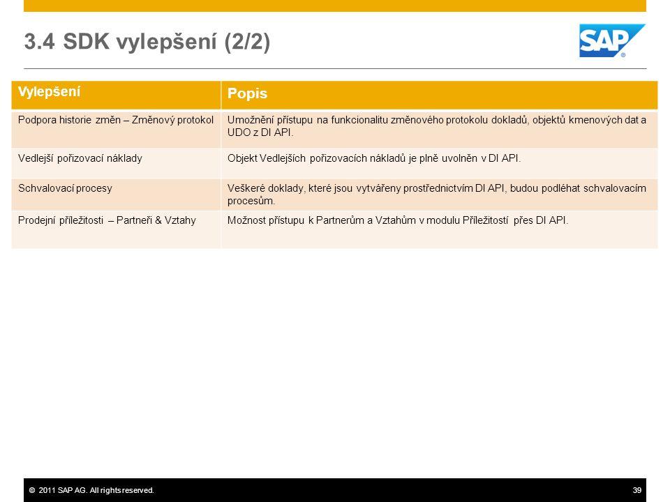 3.4 SDK vylepšení (2/2) Popis Vylepšení