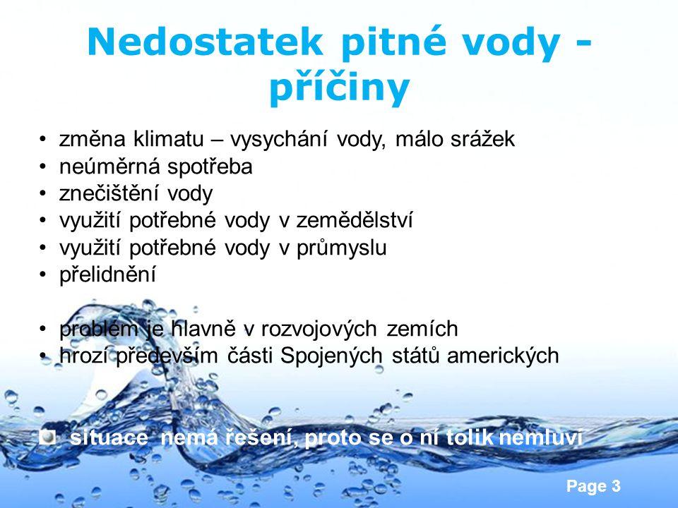Nedostatek pitné vody - příčiny