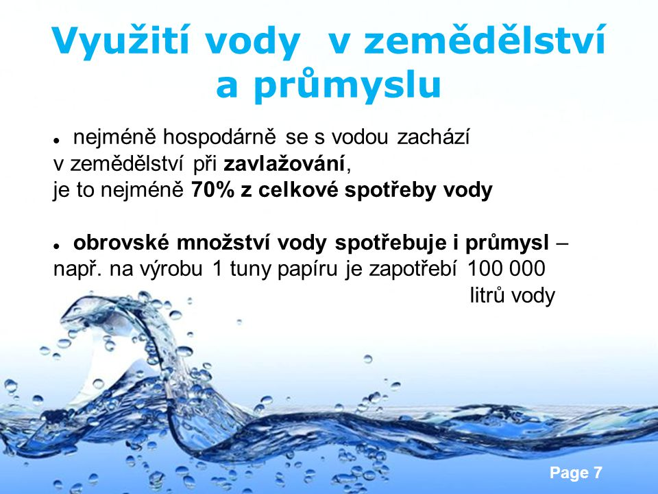 Využití vody v zemědělství a průmyslu