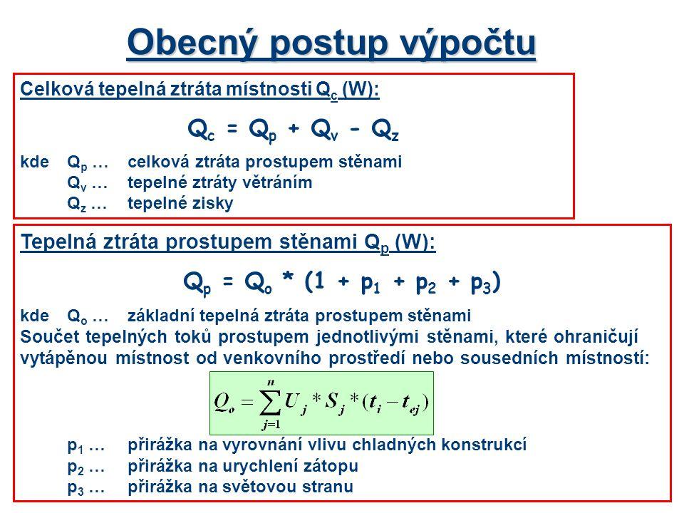Obecný postup výpočtu Qc = Qp + Qv - Qz Qp = Qo * (1 + p1 + p2 + p3)