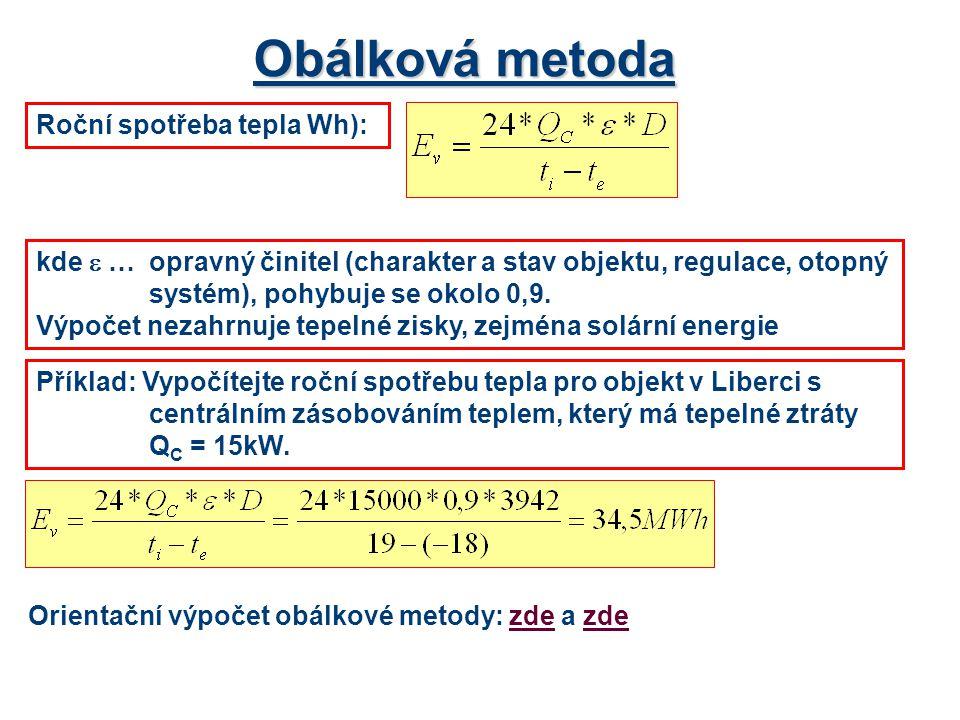 Obálková metoda Roční spotřeba tepla Wh):