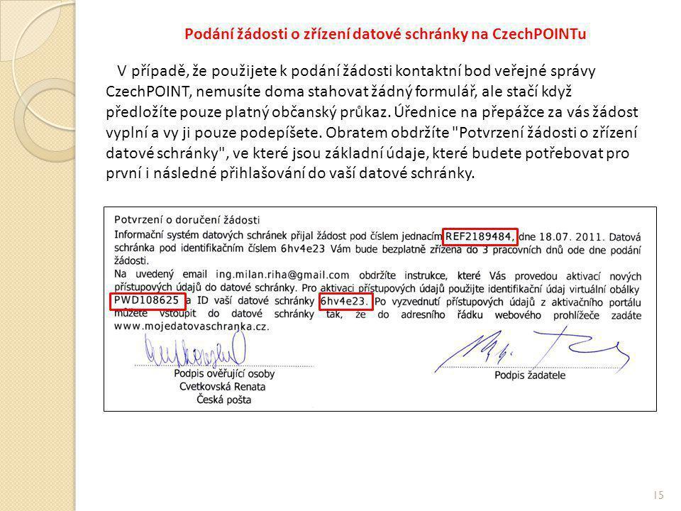 Podání žádosti o zřízení datové schránky na CzechPOINTu