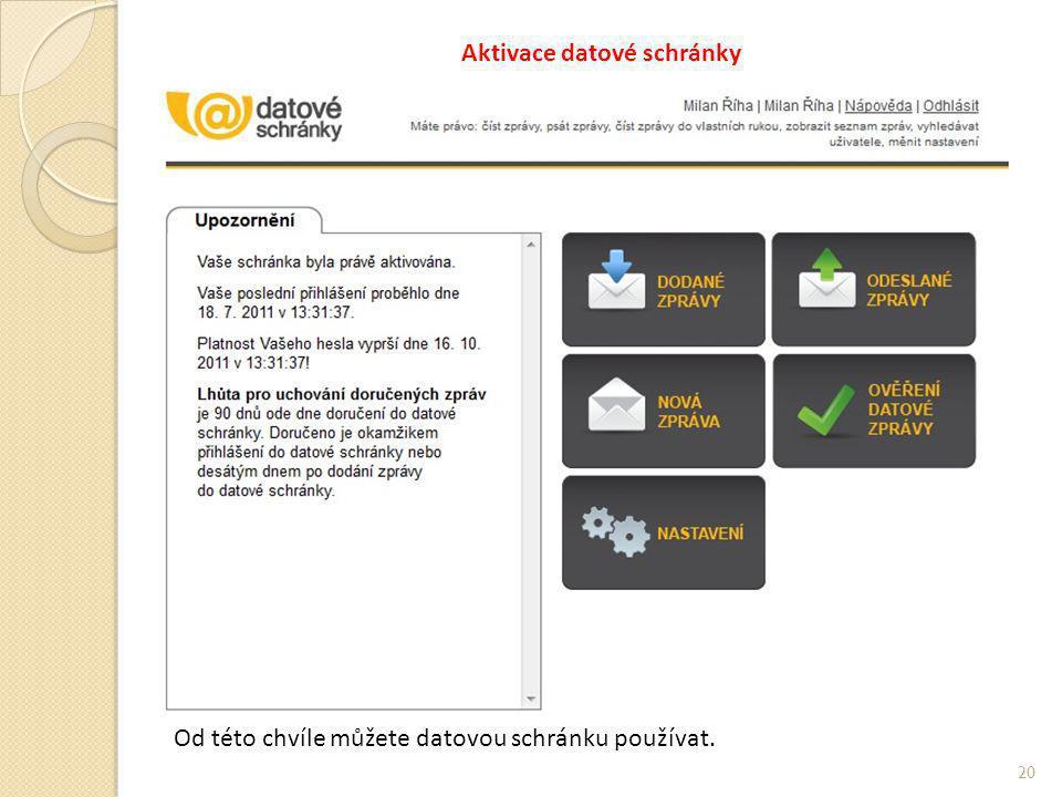 Aktivace datové schránky