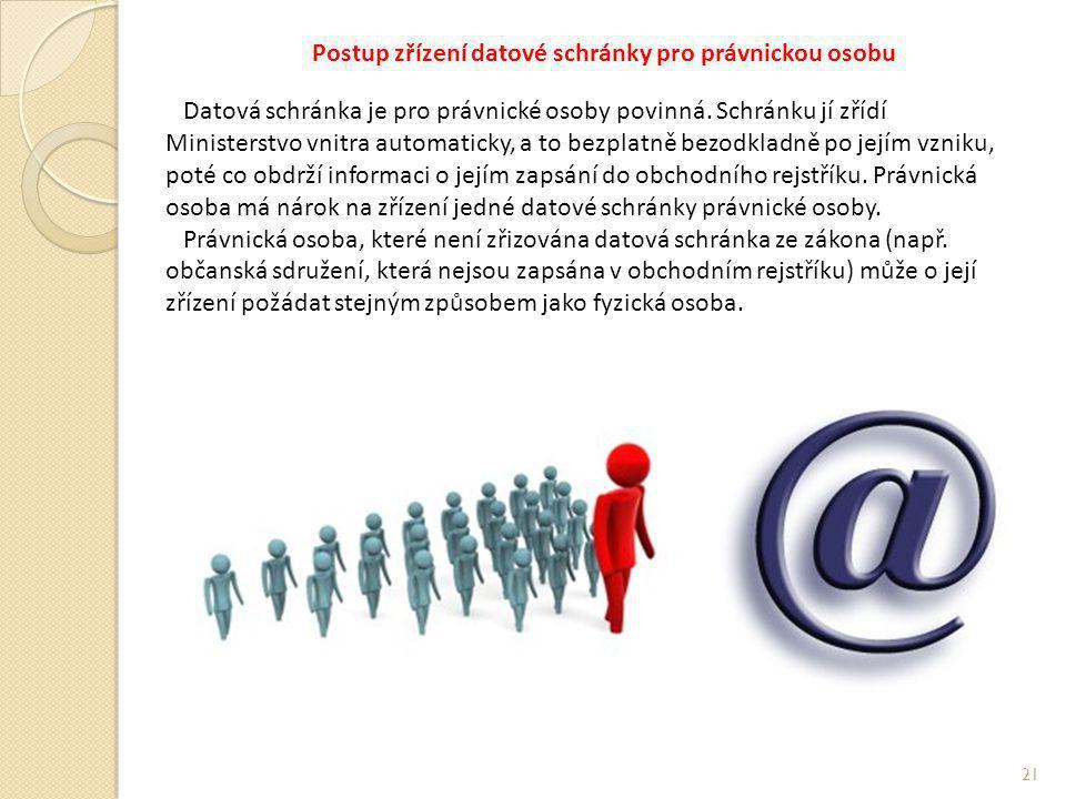 Postup zřízení datové schránky pro právnickou osobu