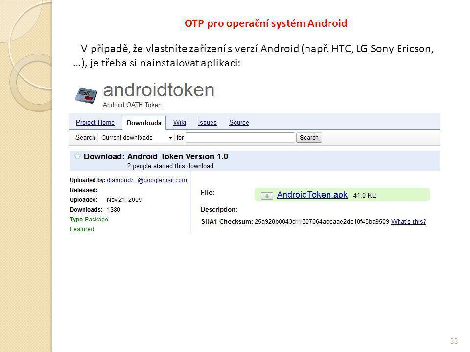OTP pro operační systém Android