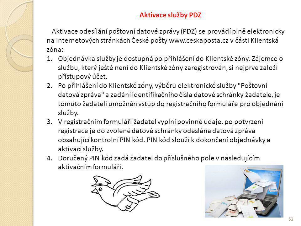 Aktivace služby PDZ