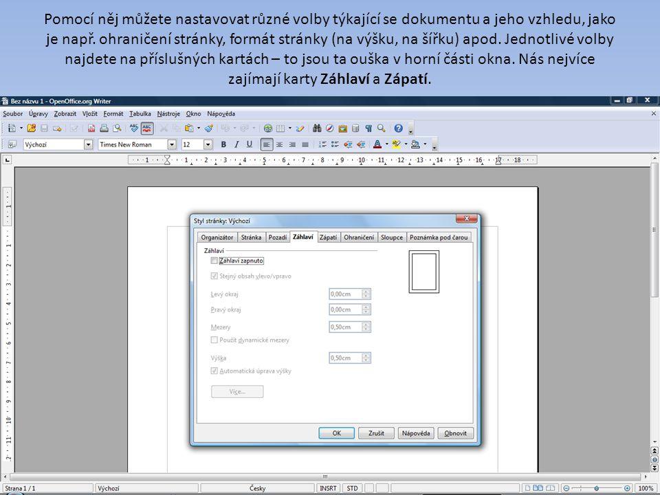 Pomocí něj můžete nastavovat různé volby týkající se dokumentu a jeho vzhledu, jako je např.