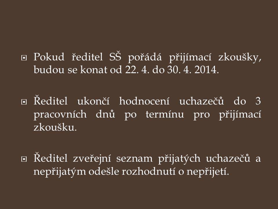 Pokud ředitel SŠ pořádá přijímací zkoušky, budou se konat od 22. 4