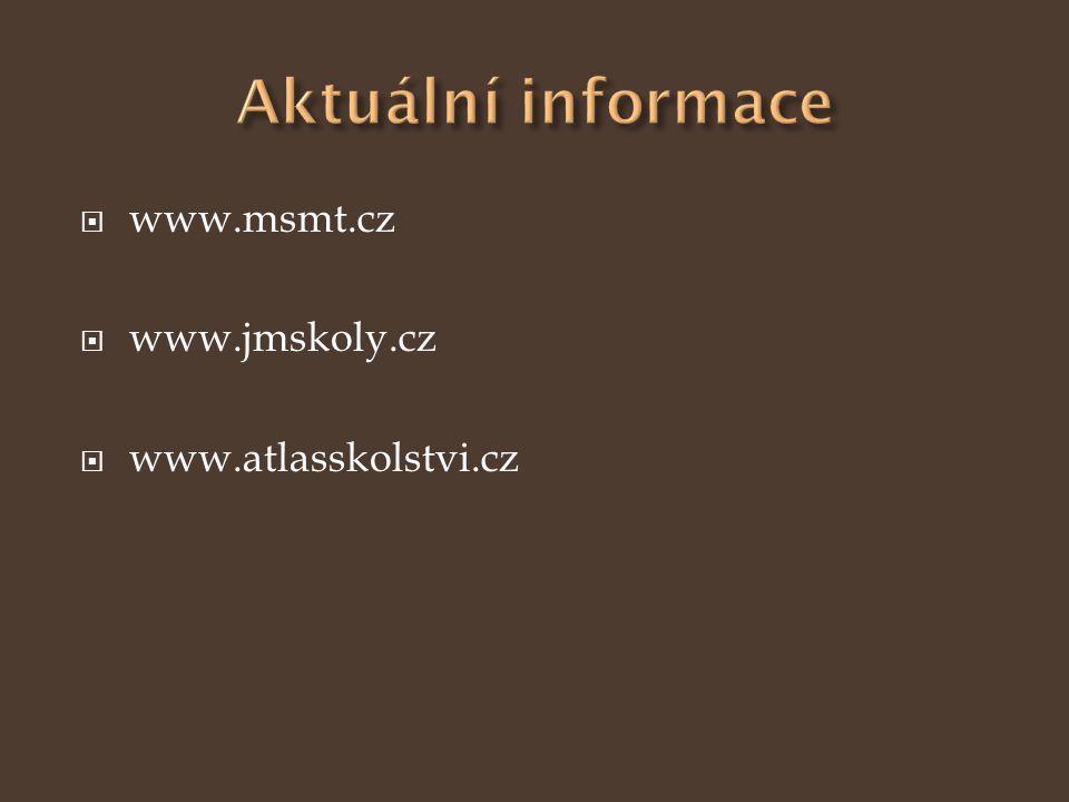 Aktuální informace www.msmt.cz www.jmskoly.cz www.atlasskolstvi.cz