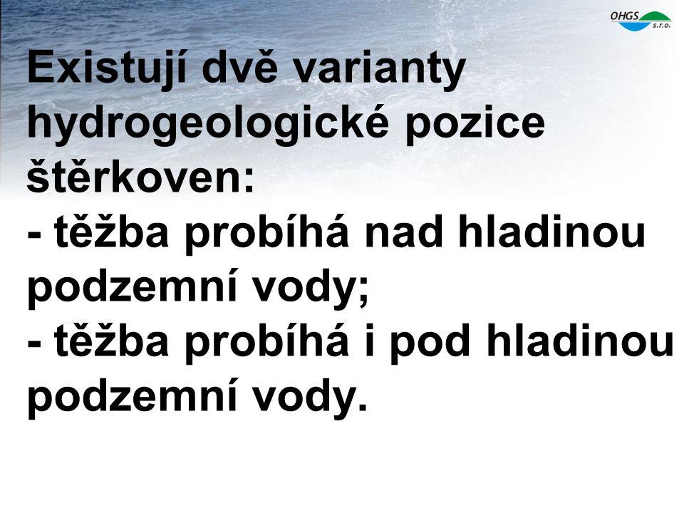 Existují dvě varianty hydrogeologické pozice štěrkoven: - těžba probíhá nad hladinou podzemní vody; - těžba probíhá i pod hladinou podzemní vody.