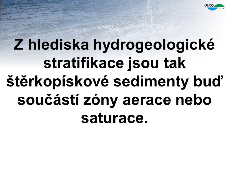 Z hlediska hydrogeologické stratifikace jsou tak štěrkopískové sedimenty buď součástí zóny aerace nebo saturace.