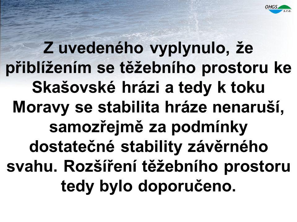 Z uvedeného vyplynulo, že přiblížením se těžebního prostoru ke Skašovské hrázi a tedy k toku Moravy se stabilita hráze nenaruší, samozřejmě za podmínky dostatečné stability závěrného svahu.