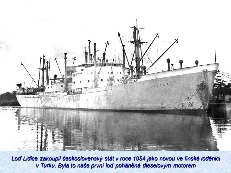 Loď Lidice zakoupil československý stát v roce 1954 jako novou ve finské loděnici v Turku.