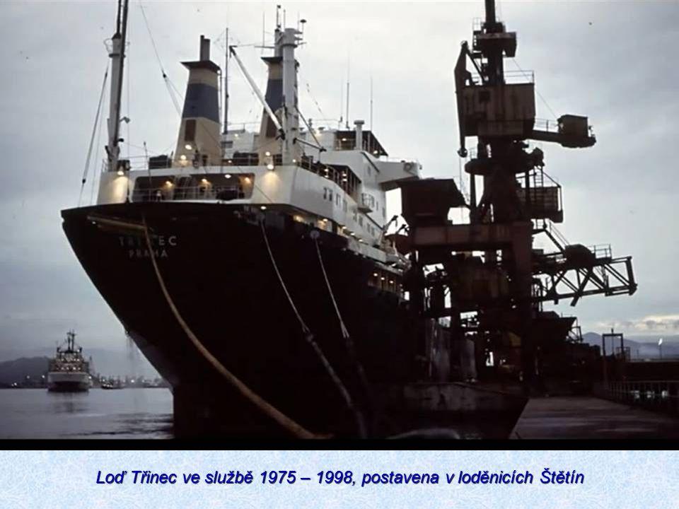 Loď Třinec ve službě 1975 – 1998, postavena v loděnicích Štětín