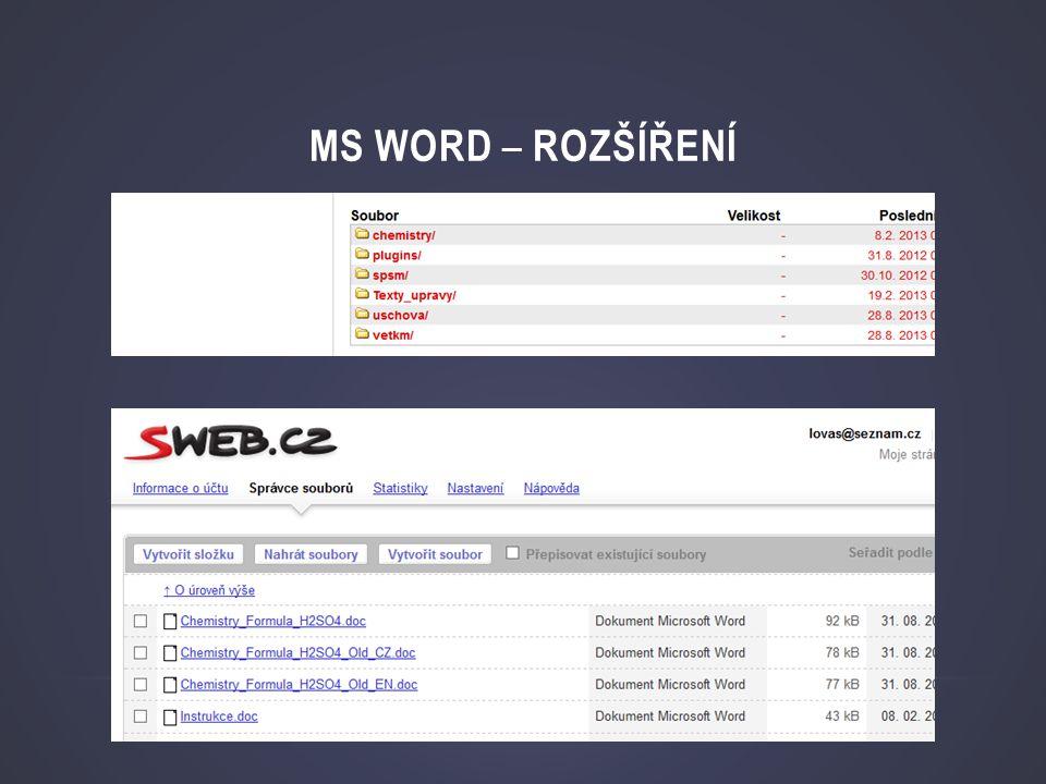 MS Word – rozšíření