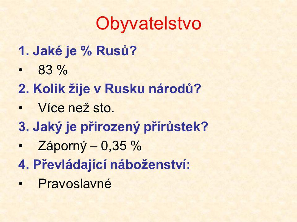 Obyvatelstvo 1. Jaké je % Rusů 83 % 2. Kolik žije v Rusku národů
