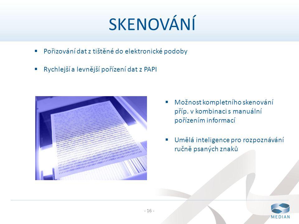 SKENOVÁNÍ Pořizování dat z tištěné do elektronické podoby