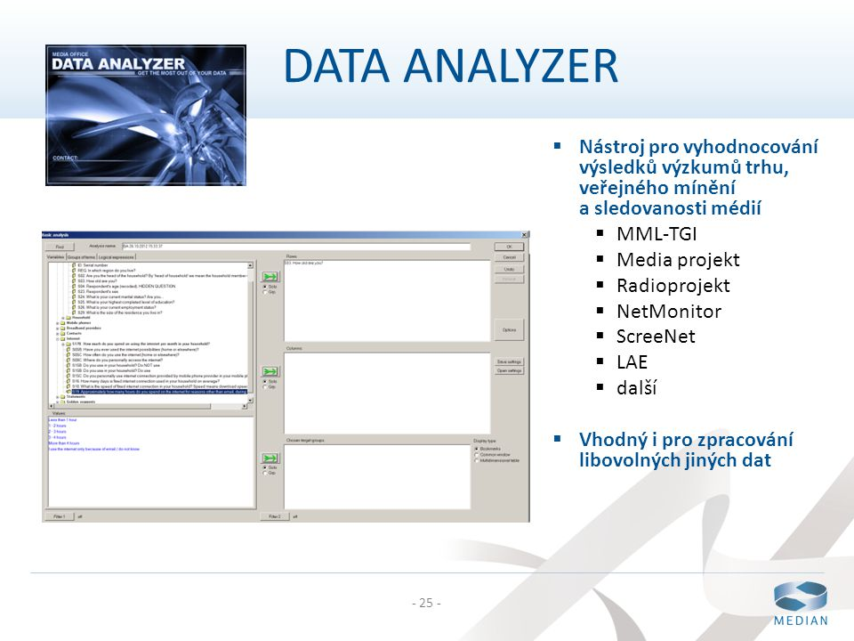 DATA ANALYZER Nástroj pro vyhodnocování výsledků výzkumů trhu, veřejného mínění a sledovanosti médií.