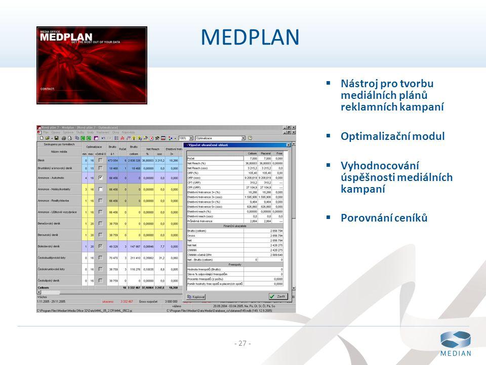 MEDPLAN Nástroj pro tvorbu mediálních plánů reklamních kampaní
