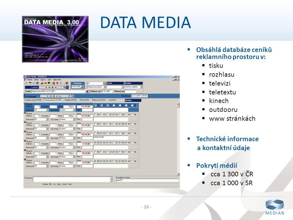 DATA MEDIA Obsáhlá databáze ceníků reklamního prostoru v: tisku