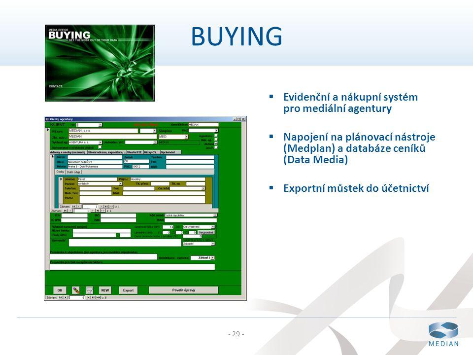 BUYING Evidenční a nákupní systém pro mediální agentury