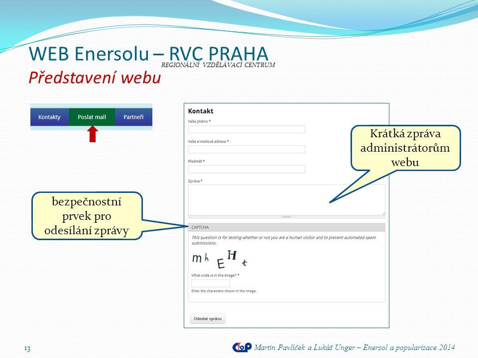 WEB Enersolu – RVC PRAHA Představení webu