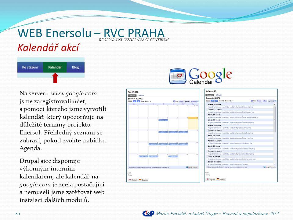 WEB Enersolu – RVC PRAHA Kalendář akcí