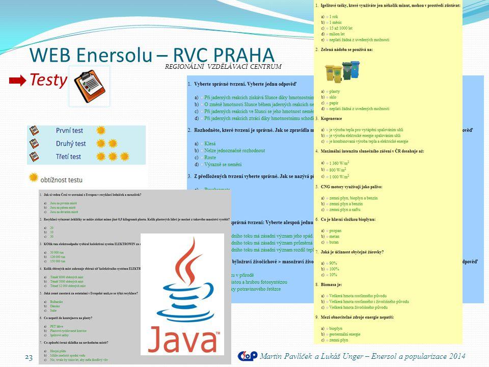 WEB Enersolu – RVC PRAHA Testy