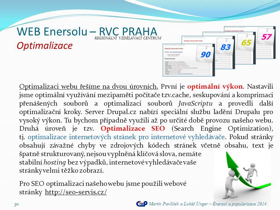 WEB Enersolu – RVC PRAHA Optimalizace