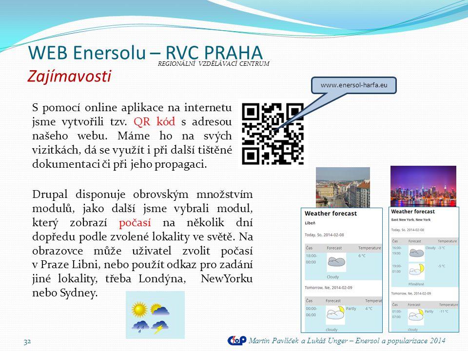 WEB Enersolu – RVC PRAHA Zajímavosti