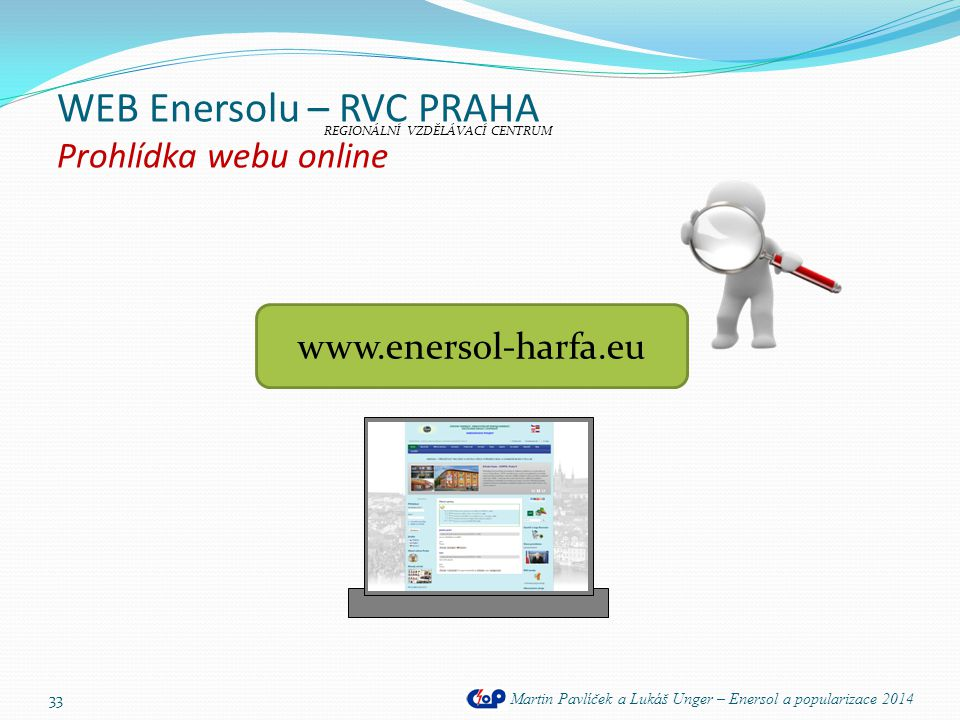 WEB Enersolu – RVC PRAHA Prohlídka webu online