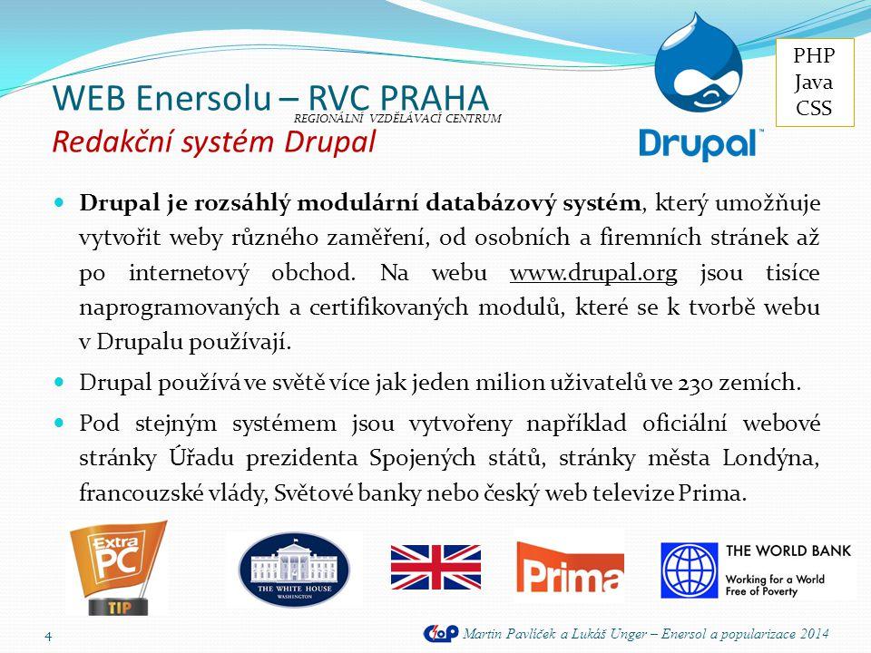 WEB Enersolu – RVC PRAHA Redakční systém Drupal
