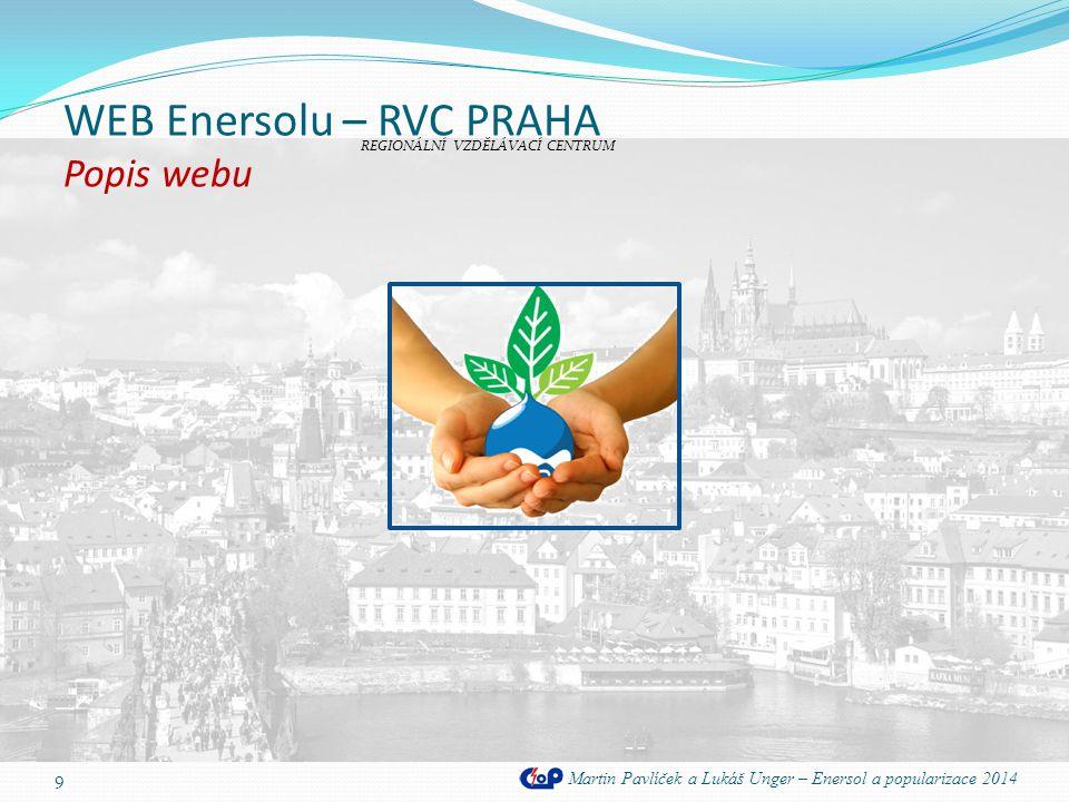 WEB Enersolu – RVC PRAHA Popis webu