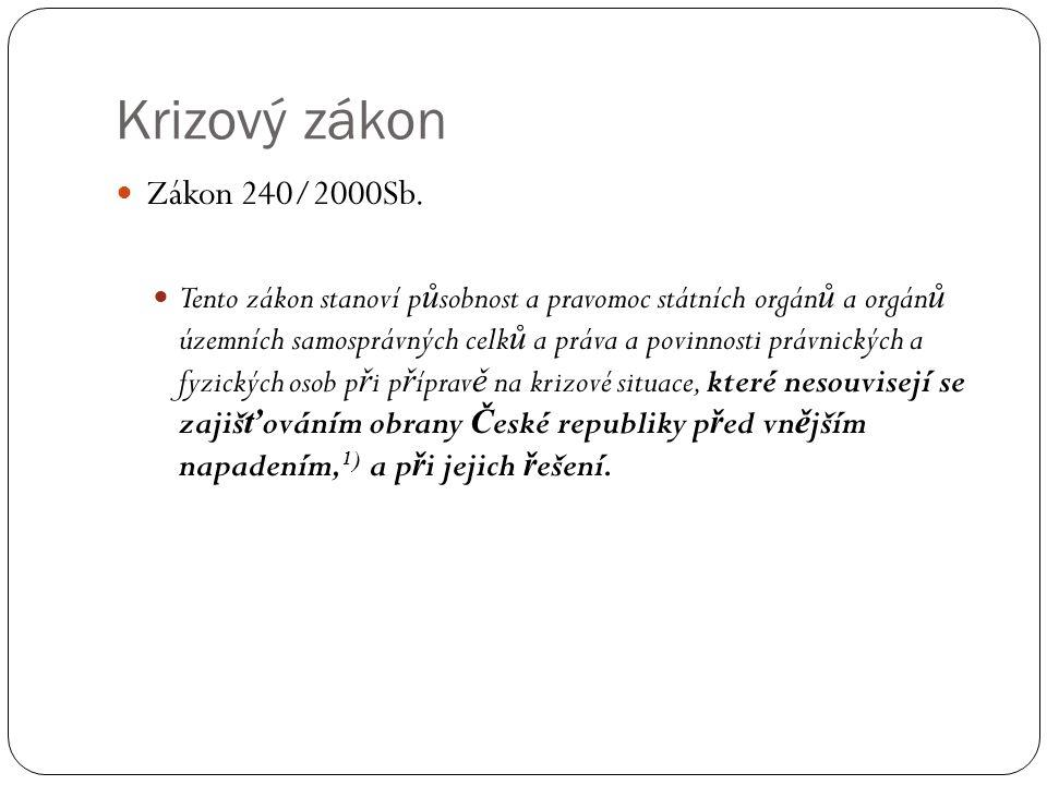 Krizový zákon Zákon 240/2000Sb.