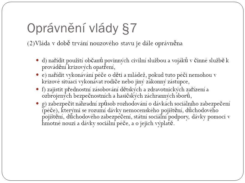 Oprávnění vlády §7 (2)Vláda v době trvání nouzového stavu je dále oprávněna.