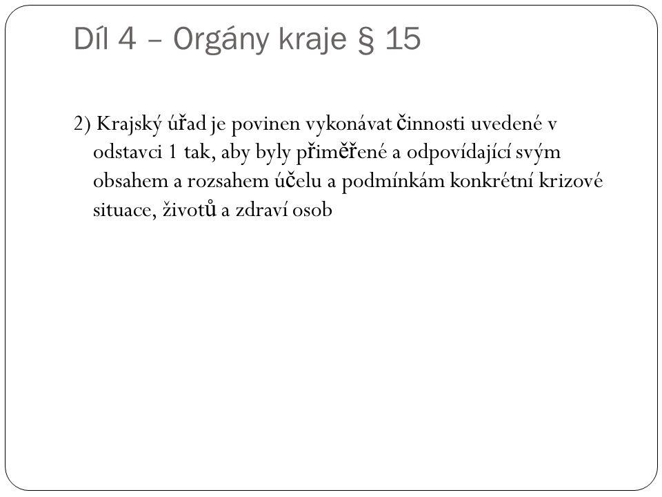 Díl 4 – Orgány kraje § 15