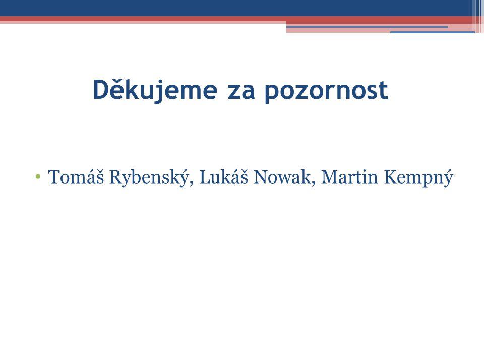 Děkujeme za pozornost Tomáš Rybenský, Lukáš Nowak, Martin Kempný