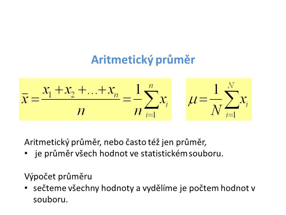 Aritmetický průměr Aritmetický průměr, nebo často též jen průměr,
