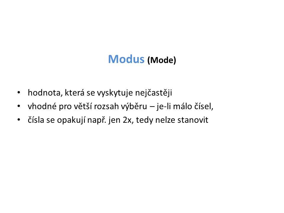 Modus (Mode) hodnota, která se vyskytuje nejčastěji