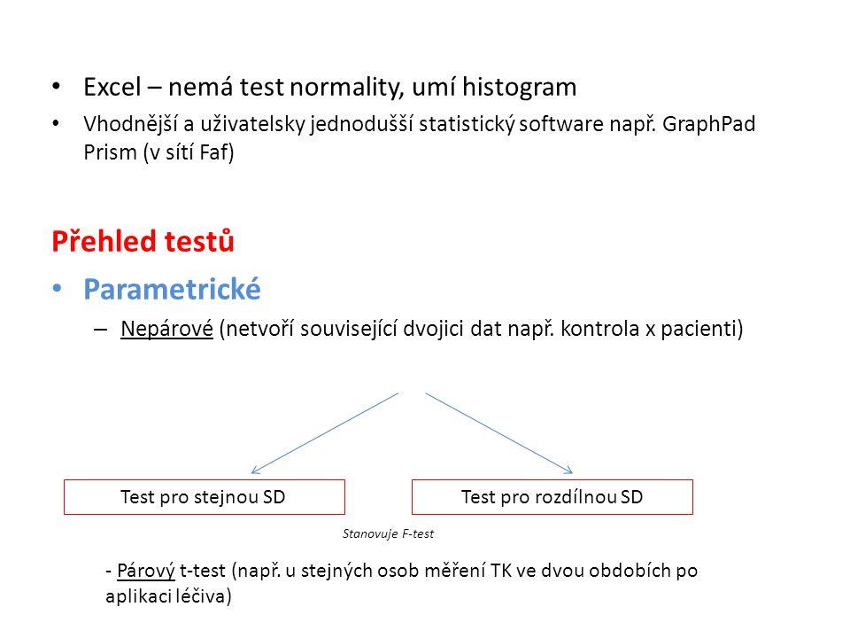 Přehled testů Parametrické Excel – nemá test normality, umí histogram