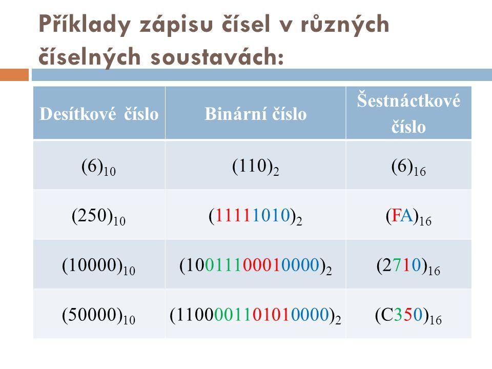 Příklady zápisu čísel v různých číselných soustavách: