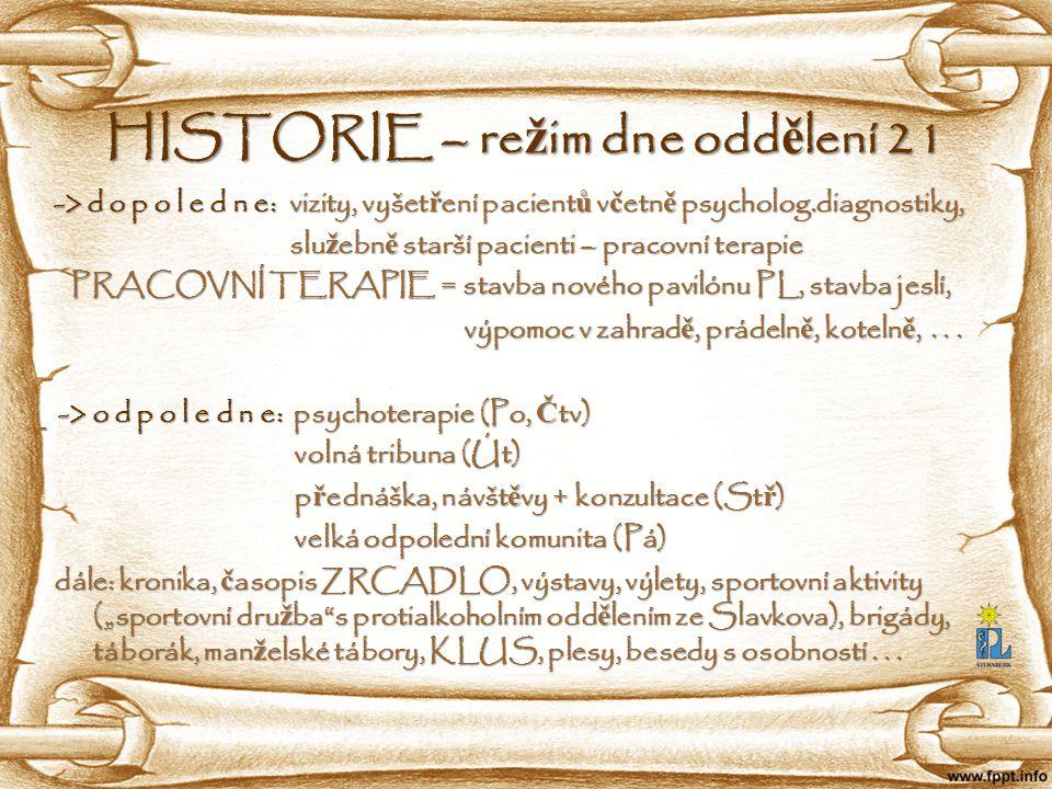 HISTORIE – režim dne oddělení 21