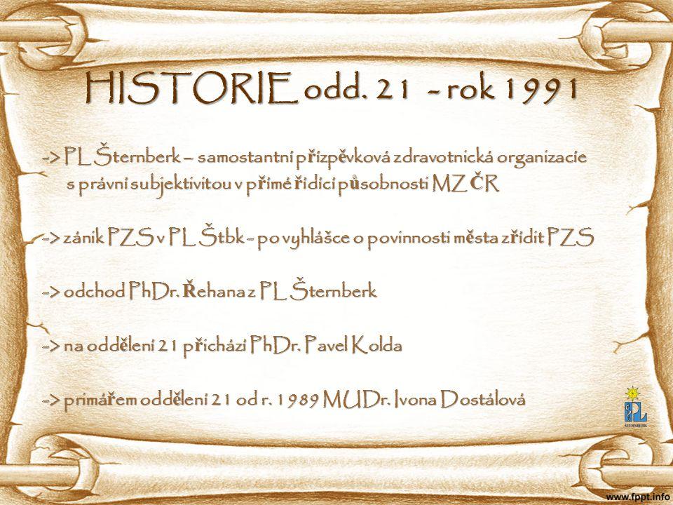 HISTORIE odd. 21 - rok 1991 -> PL Šternberk – samostantní přízpěvková zdravotnická organizacíe.