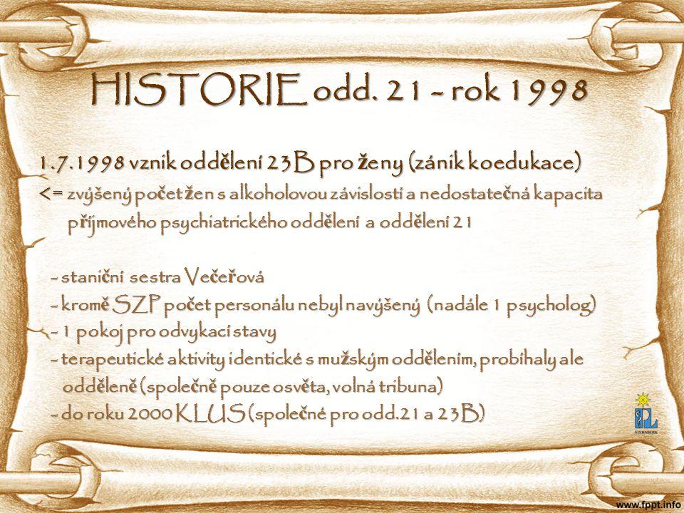 HISTORIE odd. 21 - rok 1998 1.7.1998 vznik oddělení 23B pro ženy (zánik koedukace)